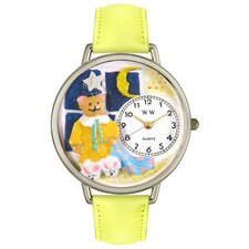 <strong>Whimsical Watches</strong> Unisex Night Teddy Bear Yellow Leather and Silvertone Watch in Silver