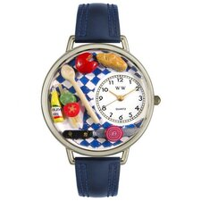 Unisex Gourmet Navy Blue Leather and Silvertone Watch in Silver