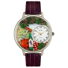 Unisex Wine and Cheese Purple Leather and Silvertone Watch in Silver