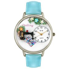 <strong>Whimsical Watches</strong> Unisex Quilting Baby Blue Leather and Silvertone Watch in Silver