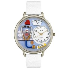 <strong>Whimsical Watches</strong> Unisex Nurse White Leather and Silvertone Watch in Silver