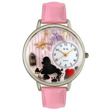 <strong>Whimsical Watches</strong> Unisex Dog Groomer Pink Leather and Silvertone Watch in Silver