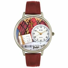 Unisex John 3:16 Burgundy Leather and Silvertone Watch in Silver