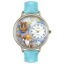 Unisex Angel with Harp Baby Blue Leather and Silvertone Watch in Silver