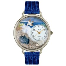 Unisex Footprints Royal Blue Leather and Silvertone Watch in Silver