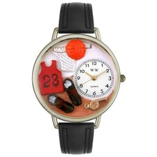 Unisex Basketball Black Leather and Silvertone Watch in Silver