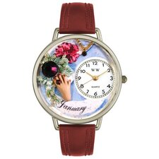 Unisex January Burgundy Leather and Silvertone Watch in Silver