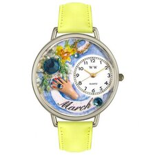 Unisex March Yellow Leather and Silvertone Watch in Silver
