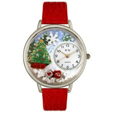 Unisex Christmas Tree Red Leather and Silvertone Watch in Silver