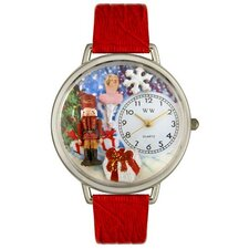 Unisex Christmas Nutcracker Red Leather and Silvertone Watch in Silver