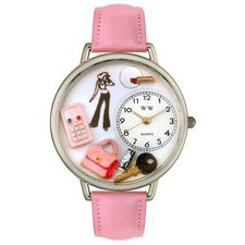 <strong>Whimsical Watches</strong> Unisex Teen Girl Pink Leather and Silvertone Watch in Silver