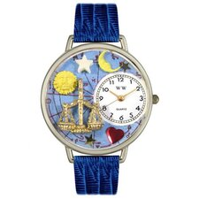<strong>Whimsical Watches</strong> Unisex Libra Royal Blue Leather and Silvertone Watch in Silver