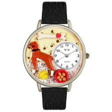 Unisex Boxer Black Skin Leather and Silvertone Watch in Silver