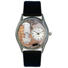 "Women""s Chiropractor Black Leather and Silvertone Watch in Silver"