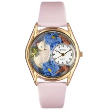 <strong>Whimsical Watches</strong> Women's White Cat Pink Leather and Gold Tone Watch