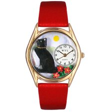 <strong>Whimsical Watches</strong> Women's Basking Cat Yellow Leather and Gold Tone Watch