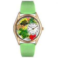 <strong>Whimsical Watches</strong> Women's Turtles Green Leather and Gold Tone Watch