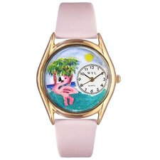 <strong>Whimsical Watches</strong> Women's Flamingo Pink Leather and Gold Tone Watch