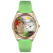Women's Elephant Green Leather and Gold Tone Watch