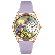Women's Fairy Lavender Leather and Gold Tone Watch