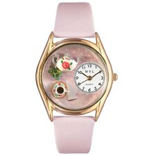 Women's Tea Roses Pink Leather and Gold Tone Watch