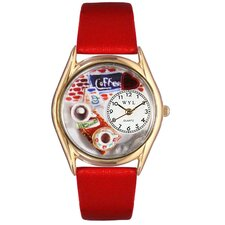 Women's Coffee Lover Red Leather and Gold Tone Watch