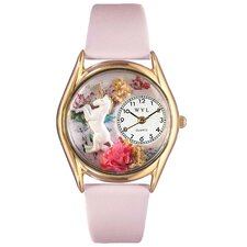 Women's Unicorn Pink Leather and Gold Tone Watch