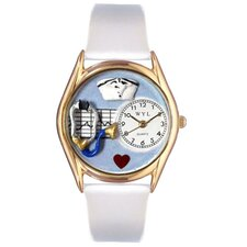 Women's Nurse White Leather and Gold Tone Watch