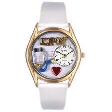 Women's LPN White Leather and Gold Tone Watch
