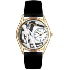 <strong>Whimsical Watches</strong> Women's Orthopedics Black Leather and Gold Tone Watch