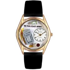 <strong>Whimsical Watches</strong> Women's Accountant Black Leather and Gold Tone Watch