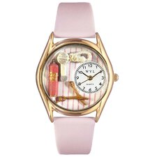 Women's Beautician Female Pink Leather and Gold Tone Watch