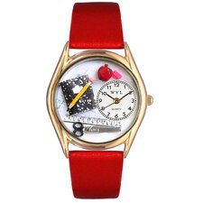Women's Teacher Red Leather and Gold Tone Watch