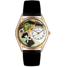<strong>Whimsical Watches</strong> Women's Psychiatrist Black Leather and Gold Tone Watch