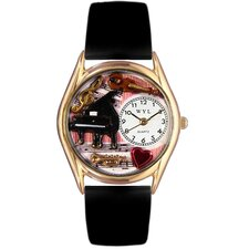 Women's Music Teacher Black Leather and Gold Tone Watch