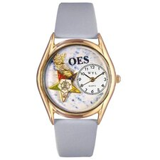 Women's Order of the Eastern Star Baby Blue Leather and Gold Tone Watch