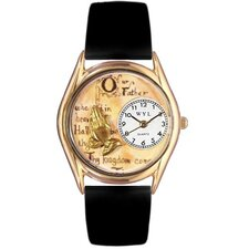 Women's Lord's Prayer Black Leather and Gold Tone Watch