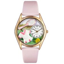 Women's Tennis Female Pink Leather and Gold Tone Watch