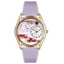 Women's Volleyball Lavender Leather and Gold Tone Watch