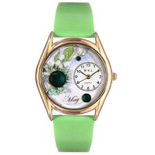 Women's Birthstone: May Green Leather and Gold Tone Watch