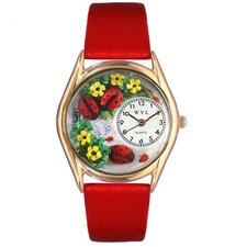 Women's Ladybugs Red Leather and Gold Tone Watch