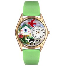 Women's Birdhouse Cat Black Leather and Gold Tone Watch