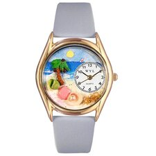 Women's Palm Tree Baby Blue Leather and Gold Tone Watch