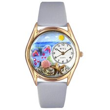 Women's Flip-Flops Bay Blue Leather and Gold Tone Watch