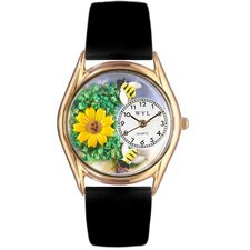 Women's Sunflower Black Leather and Gold Tone Watch