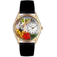 Women's Autumn Leaves Black Leather and Gold Tone Watch