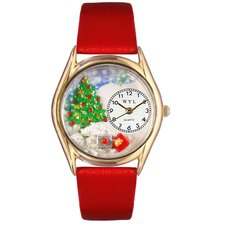 Women's Christmas Tree Red Leather and Gold Tone Watch