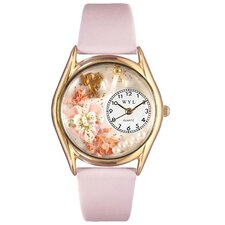 <strong>Whimsical Watches</strong> Women's Valentine's Day Pink Leather and Gold Tone Watch