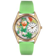 Women's St. Patrick's Day with Irish Flag Green Leather and Gold Tone Watch