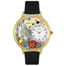 Unisex Sheepdog Black Skin Leather and Gold Tone Watch